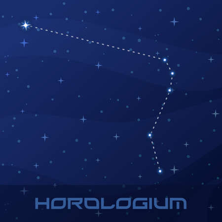 Constellation Horologium, Clock, night star sky Иллюстрация