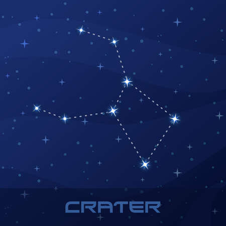 Constellation Crater, Cup, night star sky, flyer advertisement Illustration