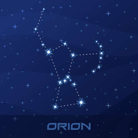 Constellation Orion, Hunter, night star sky 矢量图像