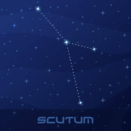 Constellation Scutum, Shield, night star sky