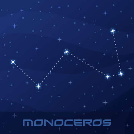 Constellation Monoceros, Unicorn, night star sky Иллюстрация