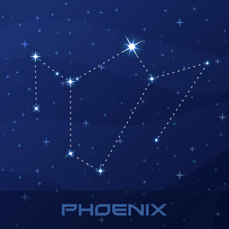Constellation Phoenix, night star sky poster, flyer advertisement Иллюстрация