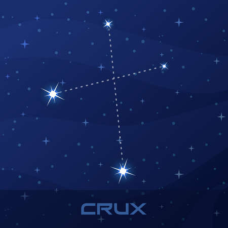 Constellation Crux, Cross, night star sky Иллюстрация