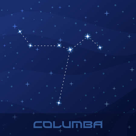 Constellation Columba, Dove, night star sky