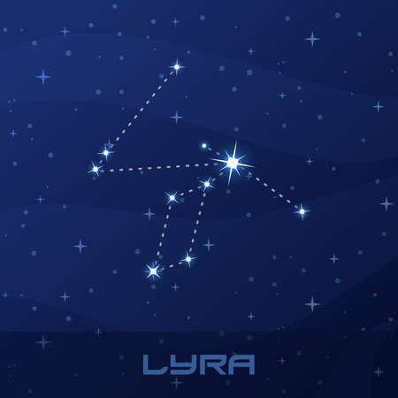Constellation Lyra, Lyre, night star sky