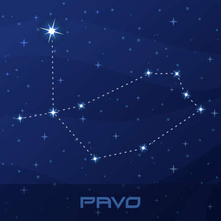 Constellation Pavo, Peacock, night star sky Иллюстрация