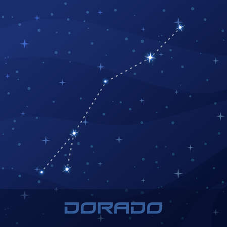 Constellation Dorado, Goldfish, night star sky Иллюстрация