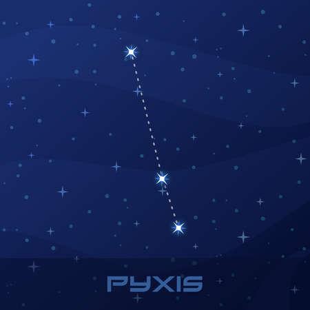 Constellation Pyxis, Compass, night star sky Stock Illustratie
