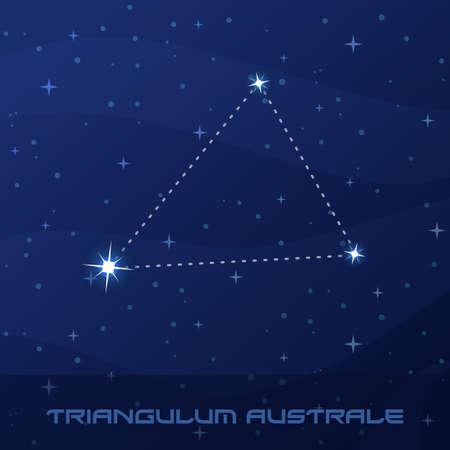 Constellation Triangulum Australe, Southern Triangle night star sky poster, flyer advertisement Stock Illustratie