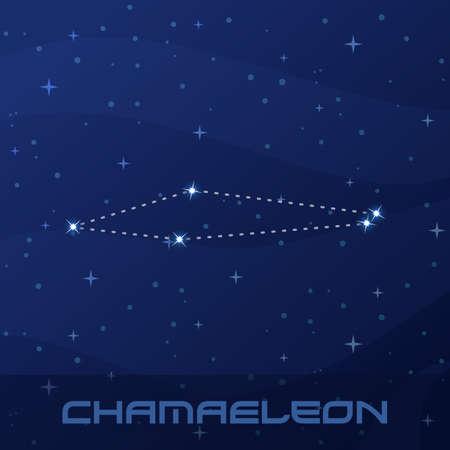 Constellation Chamaeleon, Chameleon, night star sky Stock Illustratie