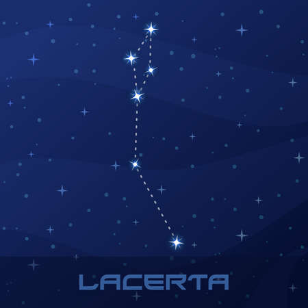 Constellation Lacerta, Lizard, night star sky
