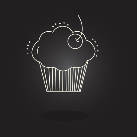 muffin with cherry on a black background icon Illustration