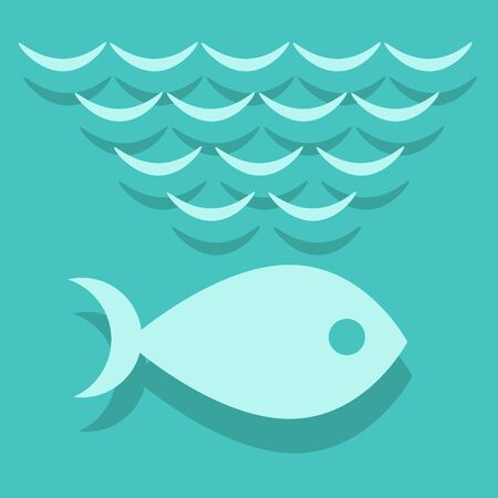 blue fish: fish in the blue Sea Illustration