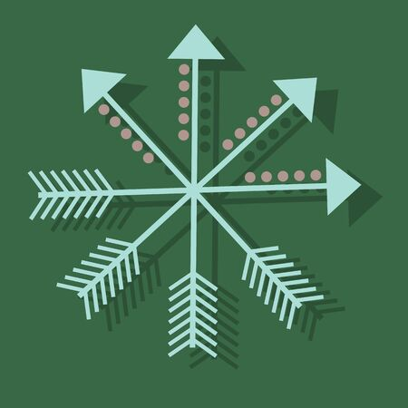 different directions: arrows with circles in different directions Illustration