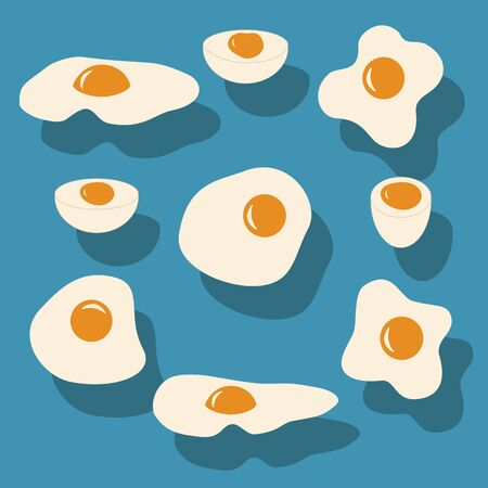 boiled: fried egg, boiled egg, different forms of eggs
