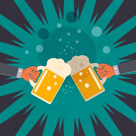 two hands clink glasses with beer in the abstract background