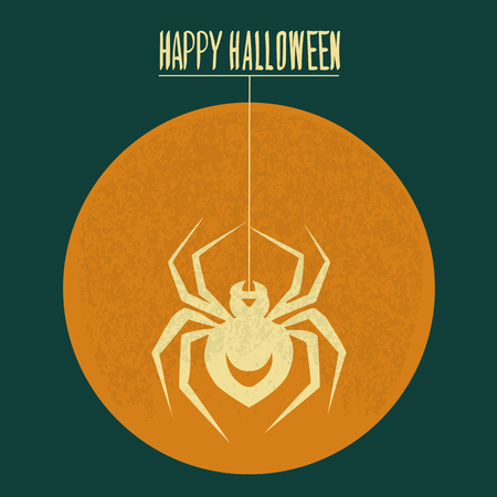Paint a spider crawls on the Moon Halloween Illustration