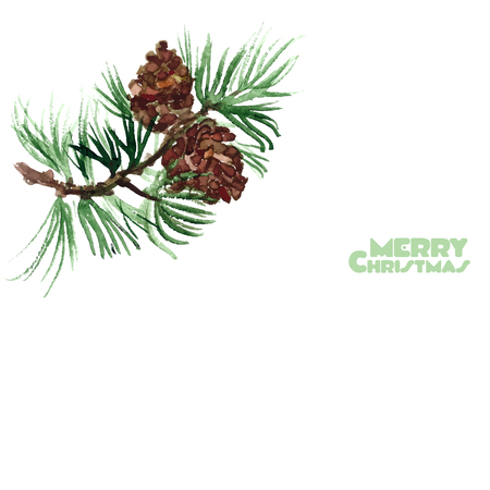 a sprig: Pine sprig of watercolor. Merry Christmas on the white background