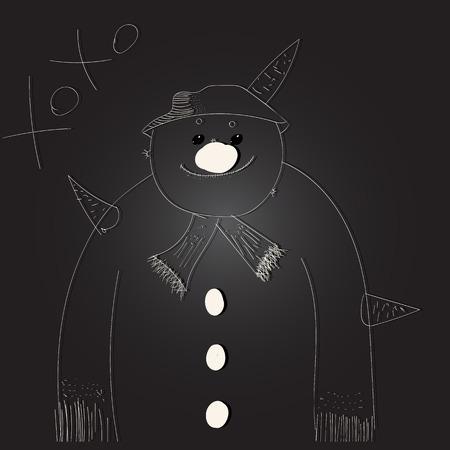 sad snowman on the black background