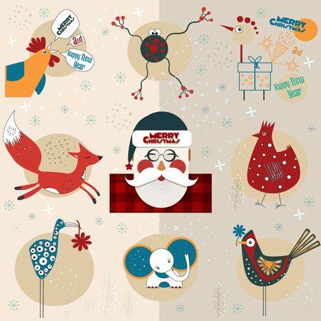 Santa and Christmas figurines of animals and birds 向量圖像