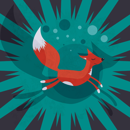 eyes closed: cute Fox run with eyes closed on the green background