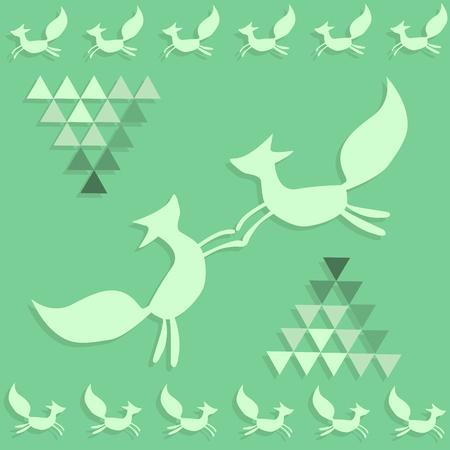Pattern of dansing chanterelles and green diamonds Stock Photo