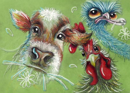 drawing farm pets: Cow, rooster and ostrich Stock Photo