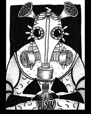 Rat in gas mask and poison black and white