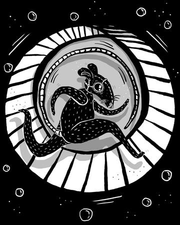 Ratten laufen auf einem Rad in Schwarz und Weiß