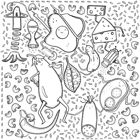 Scrambled eggs, cheese, sausage, eggplant, cucumber, peas, sandwich, sausage, rice, pasta and other doodles on white background Standard-Bild - 108577925
