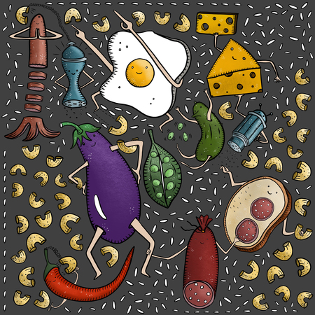 Scrambled eggs, cheese, sausage, eggplant, cucumber, peas, sandwich, sausage, rice, pasta and other doodles on grey background Standard-Bild - 110722428