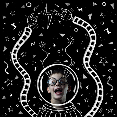 a boy in a space suit, helmet and glasses painted on a chalkboard