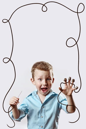 boy with a needle and thread in a blue shirt on a light background Stock fotó