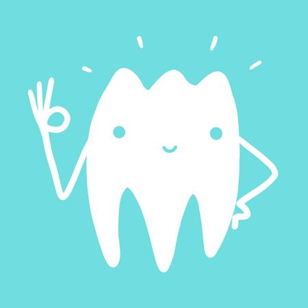 cartoon fun tooth for the logo of the dental clinic