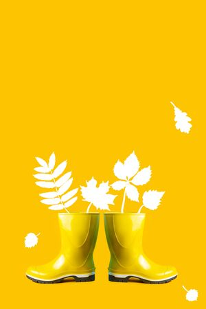 autumn composition of yellow rubber boots and leaves on a yellow background Stock Photo