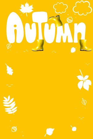 The inscription autumn in large letters on colored background. As well as yellow rubber boots and tree leaves