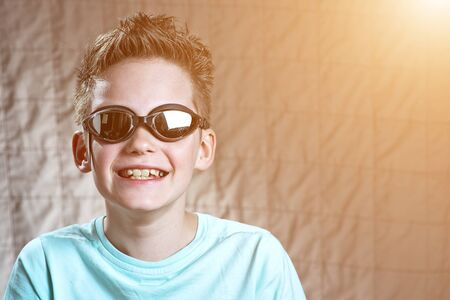portrait of a boy in swimming goggles Stock Photo