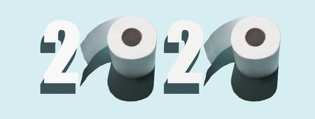 2020 from toilet paper. A concept on the topic of the virus.