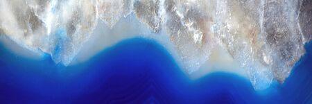 Decorative agate slab. Blue semi-precious stone. Abstract background for design. Banner Stockfoto - 147111912