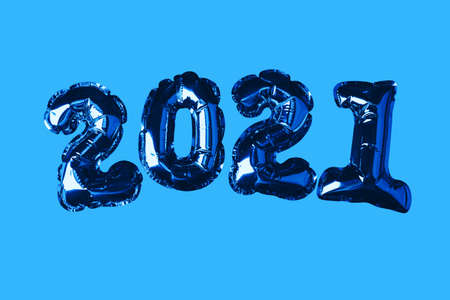 Golden Christmas Balls 2021. On the blue background. New Year concept. Party decoration, anniversary sign for holidays, celebration, carnival.