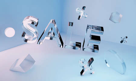 3D transparent glass neon Sale inscription and geometric shapes in the angle. Concept Stock fotó - 154541472