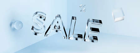 3D transparent glass neon Sale inscription and geometric shapes in the angle. Concept. Banner