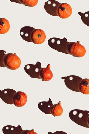 Pattern of many different pumpkins with a hard shadow on a gray background. Halloween concept
