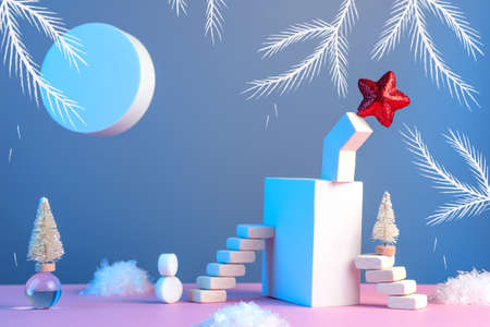 Winter New Years still life with stairs, Christmas tree, star, sun, snow and geometric shapes on a pink blue background, in a neon light
