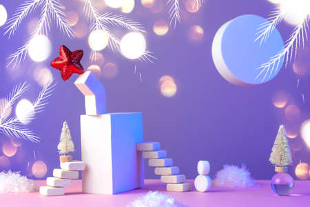 Winter New Year's still life with stairs, Christmas tree, star, sun, snow and geometric shapes on a pink blue background, in a neon light.