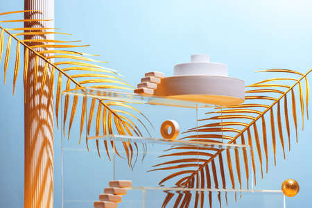 Monumental composition with catwalks, stairs, palm leaves and geometric shapes in blue and gold colors, beauty concept, mock up