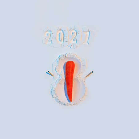 A snowman made of flour with carrots and matches. New Years Concept Postcard 2021.