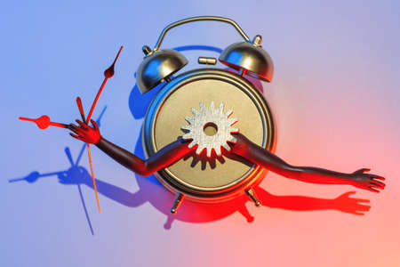Surreal and futuristic alarm clock with hands, gear and arrows, new year holiday concept, coffee break