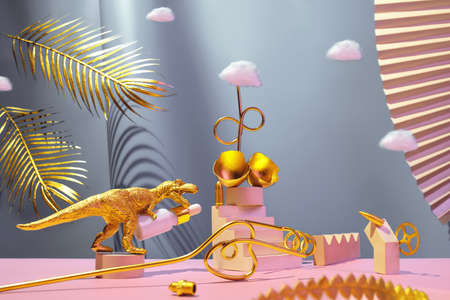 Monumental composition with dinosaur, egg, cosmetic oil for the face with catwalks, stairs, palm leaves and geometric shapes in blue and gold colors, beauty concept