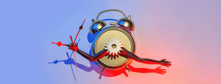 Surreal and futuristic alarm clock with hands, gear and arrows